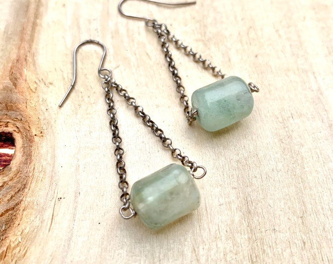 Fluorite Barrel Dangle Earrings