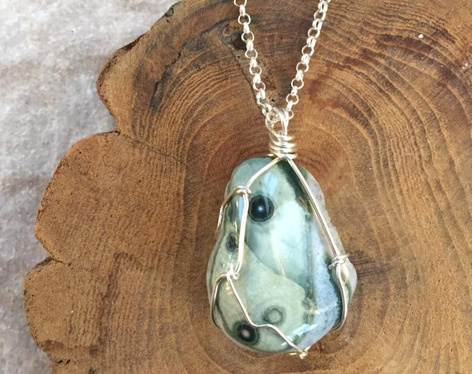Wire Wrapped Ocean Jasper Pendant Necklace