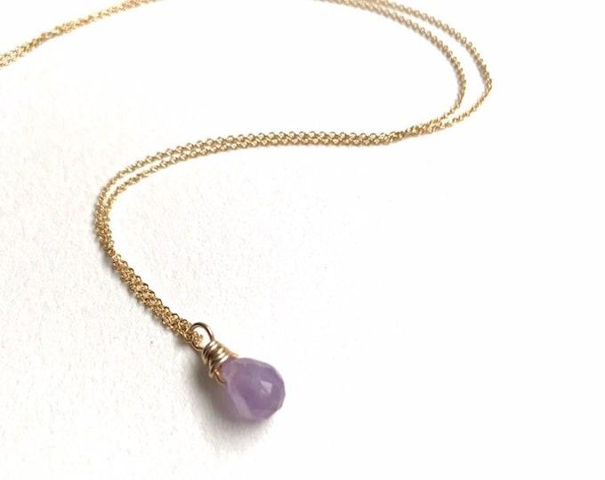 Petitie Amethyst Drop Necklace