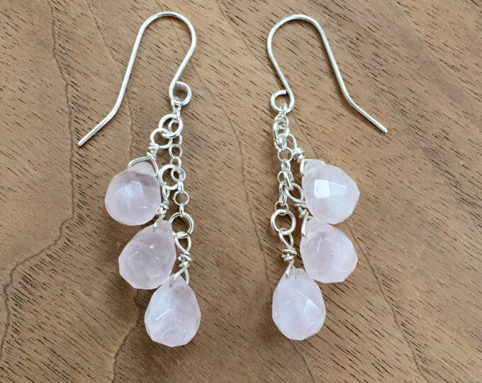 Rose Quartz & Sterling Silver Dangle Earrings