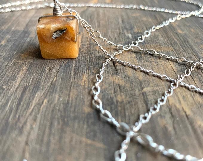 Yellow Quartz Cube Long Necklace
