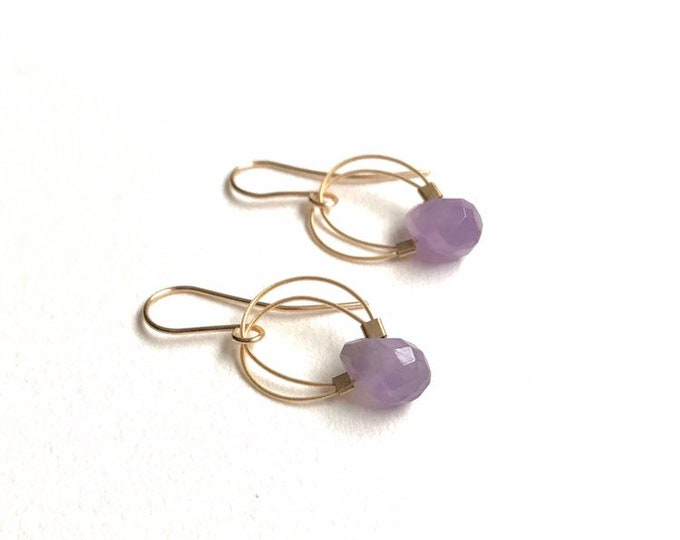 Amethyst and Gold Filled Wire Earrings