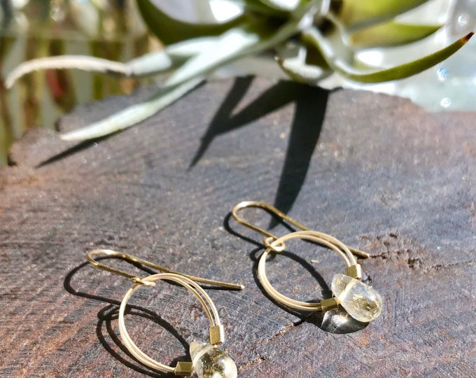 Citrine and Gold Filled Wire Earrings