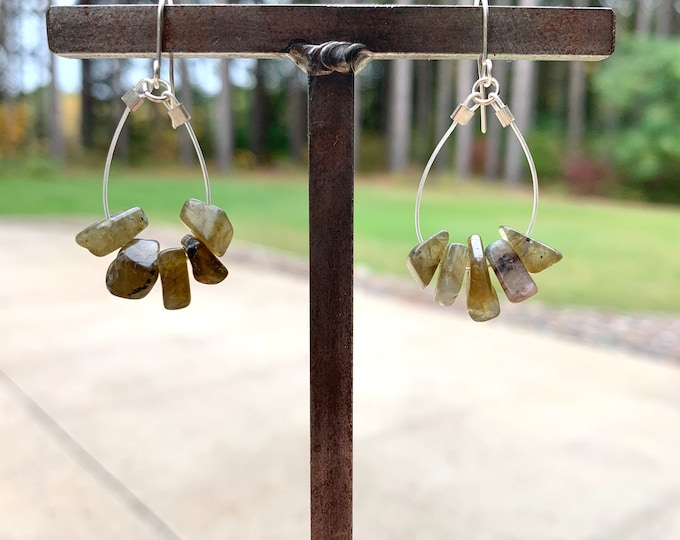 Labradorite Chip Hoop Dangle Earrings