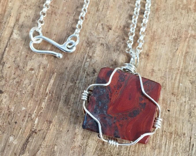 Wire Wrapped Mary Ellen Jasper Pendant Necklace