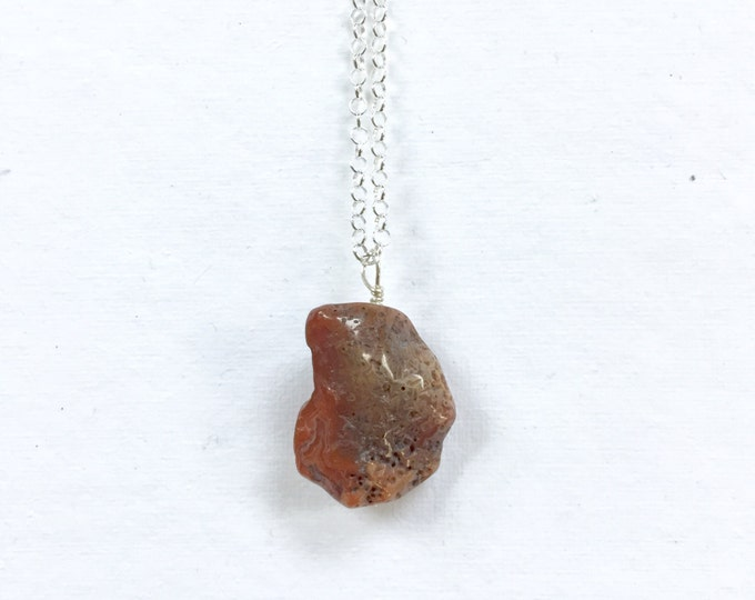 Tumbled Lake Superior Agate Necklace - Sterling Silver - Minnesota