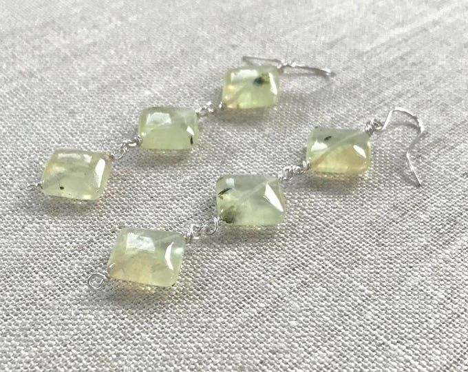 Long Prehnite Earrings