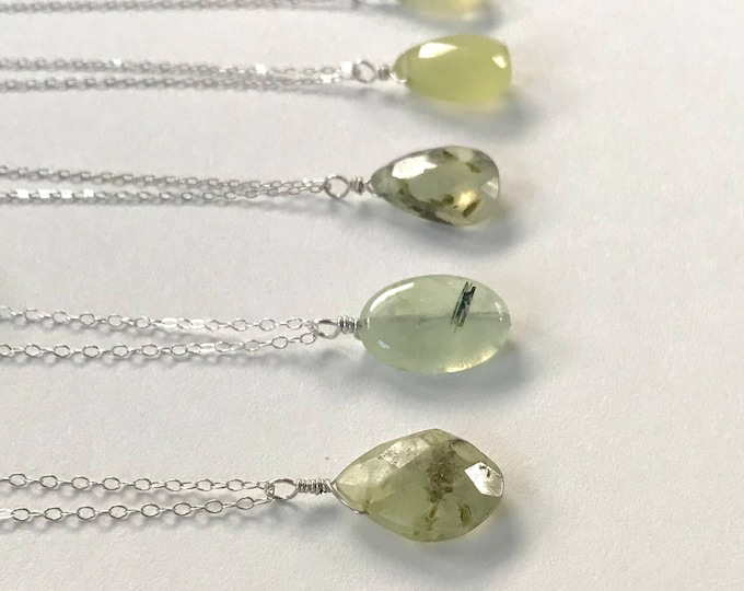 Simple Prehnite Pendant Necklace