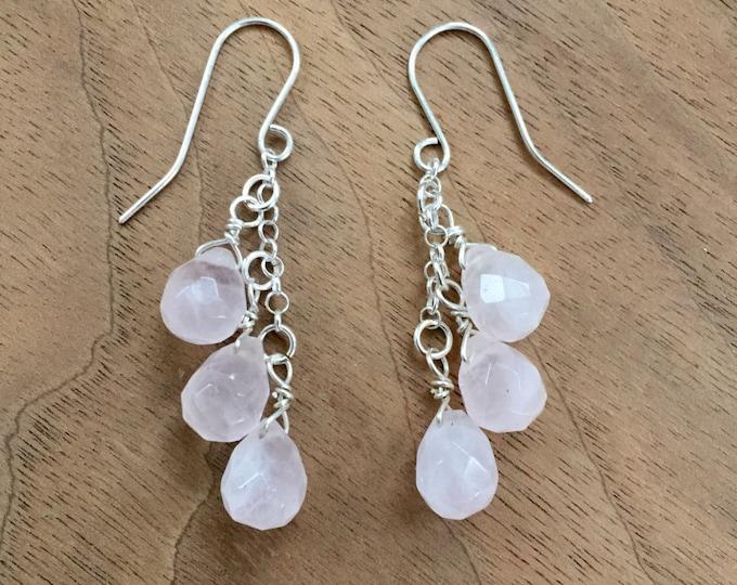 Rose Quartz & Sterling Silver Dangle Earrings