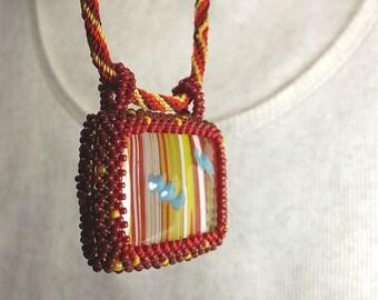 Fused glass pendant - beadwork necklace - seed bead bezel  - kumihimo cord