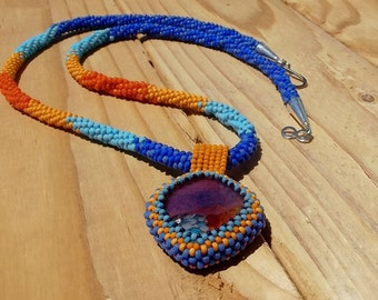 Kumihimo seed bead rope beadwork necklace - fused glass cabochon beaded bezel  - native american  styling