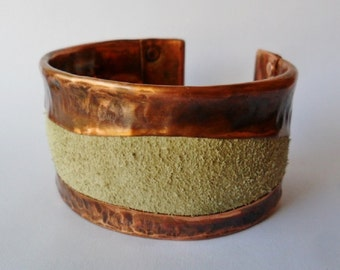 Light Grey Suede Leather and Copper Cuff Bracelet Mens or Womens