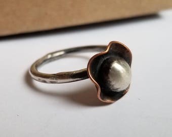 Round Simple Ring, Womens Ring, Solid Sterling Ball Ring, Sterling Silver and Copper Ring
