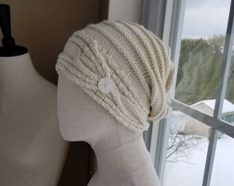 59ae4308721 Natural Cream Cable Brim Slouch Hat with Button