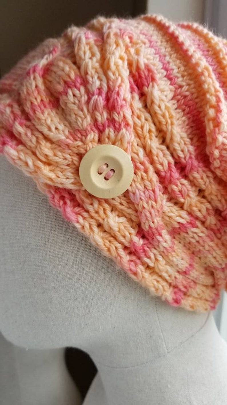 Multi Pink Pinky Cable Brim Slouch Hat with Wood Button