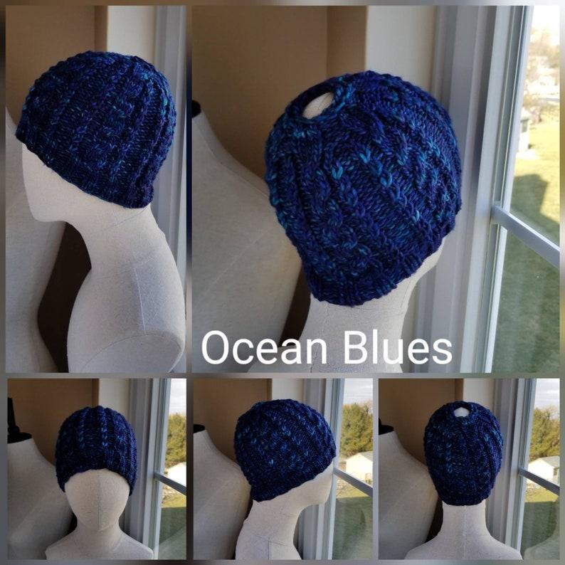 Pony Tail Hat Blues MORE COLORS Gray /& Black Purples Brown Fall Colors Ocean Colors Colors Cable Knit Bun Hat