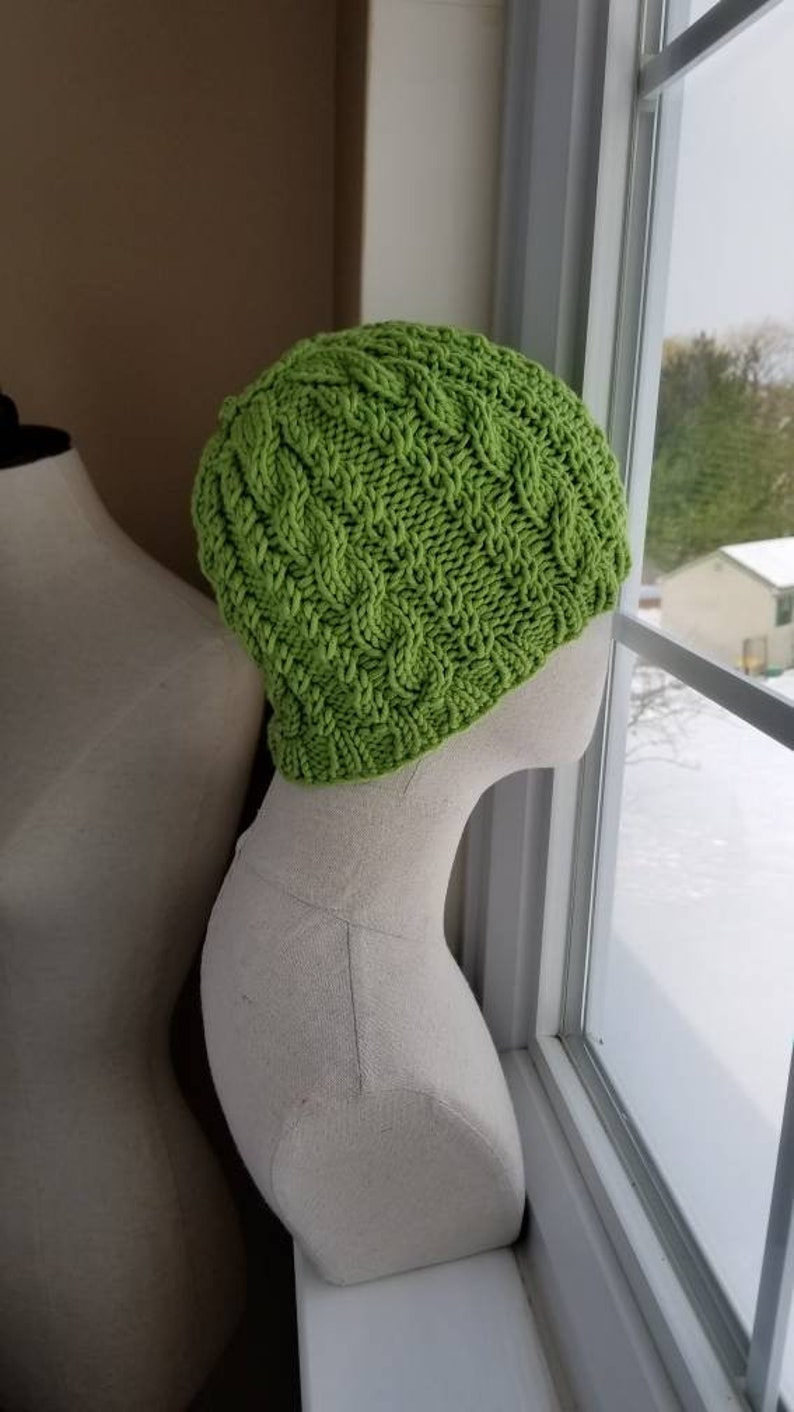 Kelly Green Cable Knit Bun Hat Wool Pony Tail Hat