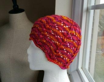 Georgian Lace, Silk Hat in Firey Colored Hand Dyed Yarn - 100% SILK