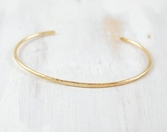 Thin Gold Bracelet, Simple - Forged Cuff