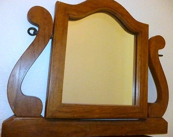 Vintage-Oak-Swivel Mirror for Vanity