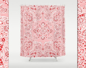 Pink Paisley Mehndi Bandana Shower Curtain Bathroom Decor Watercolor Pattern By Designer Patricia Shea