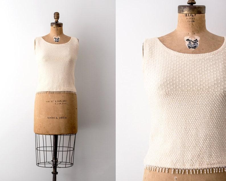 d85f7a36a4535 Vintage 1960 cream top. 60s sequin blouse. Angora rabbit wool