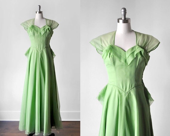 40's prom dress. 1940 long dress. organza & taffet