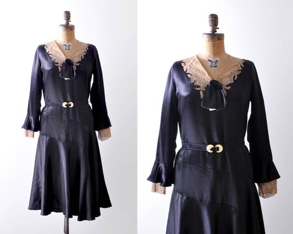 1930's black satin dress. 30 lace dress. liquid sa