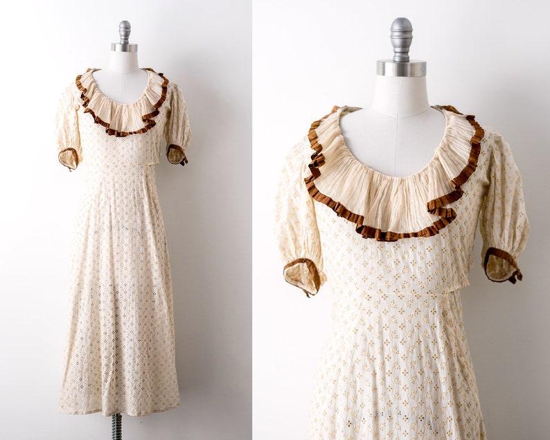 vintage 1930 cotton dress. 30's lace dress. cream eyelet image 0