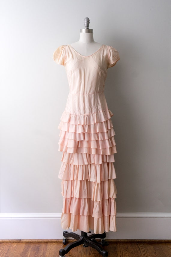 1930 light pink dress. small. 30's bias cut gown.… - image 2