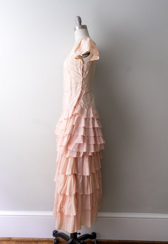 1930 light pink dress. small. 30's bias cut gown.… - image 8