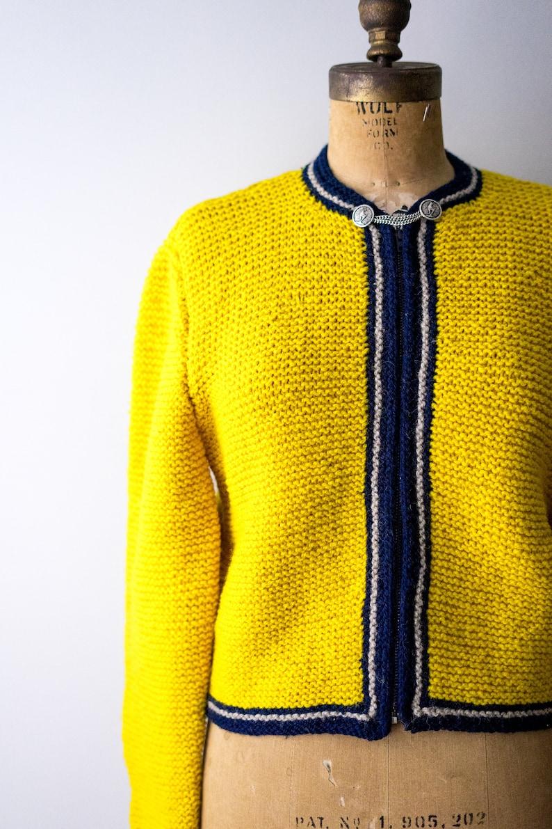 Large sweater yellow 50 vintage sweater Zipper Navy blue 1950\u2019s knit cardigan chunky.