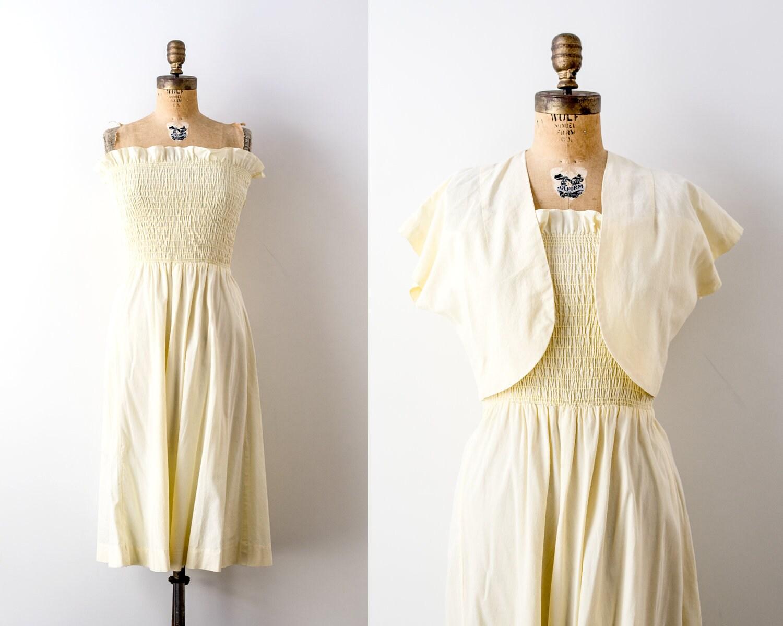 1940's yellow sundress  Vintage 40 dress with bolero  pastel  cotton  Ruching  s