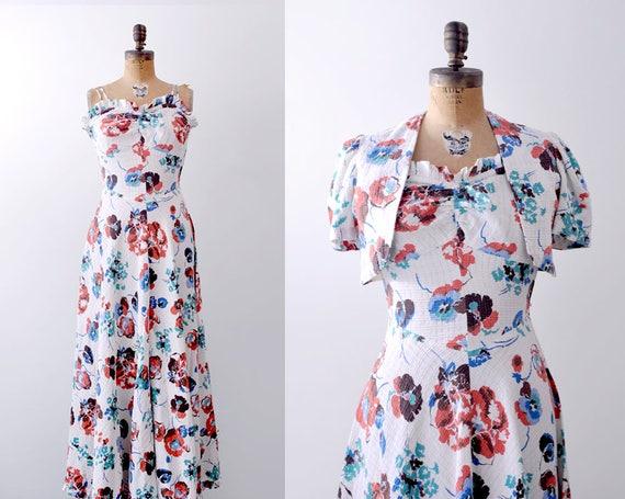 30's floral dress. 1930 maxi dress. cotton waterco
