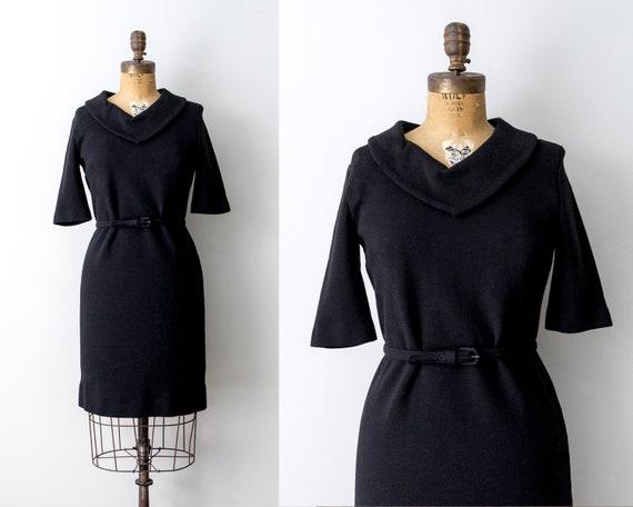 60's black knit dress. 1960 belt dress. medium. co