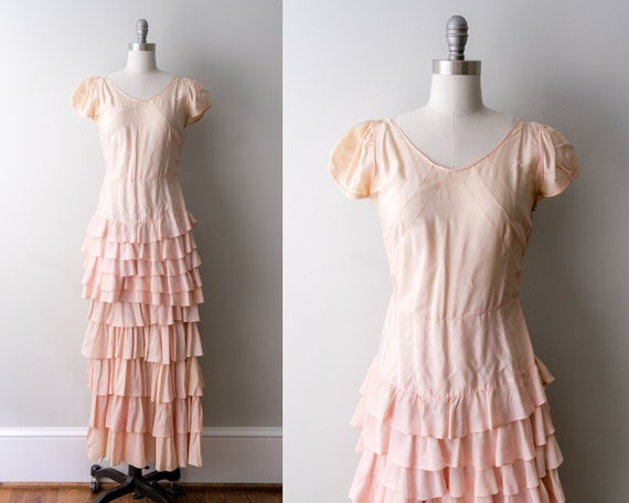 1930 light pink dress. small. 30's bias cut gown.… - image 1