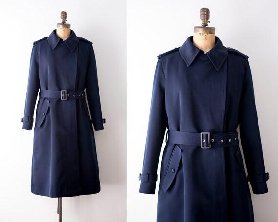 1970 trench coat. Vintage 70's navy blue coat. Rai