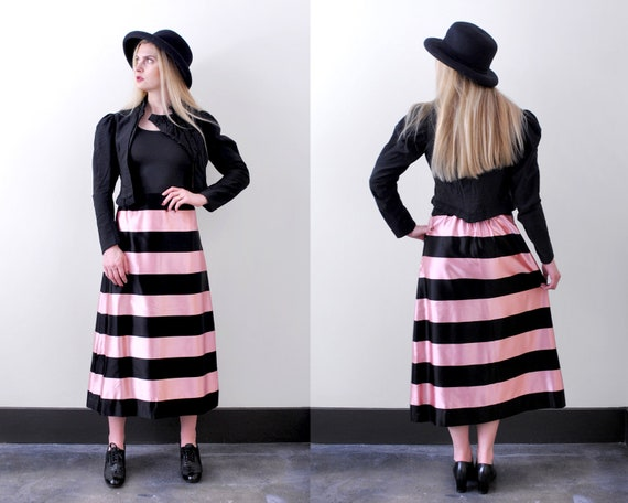 1930's striped satin skirt. XS. 40 pink & black sk
