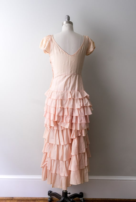 1930 light pink dress. small. 30's bias cut gown.… - image 4