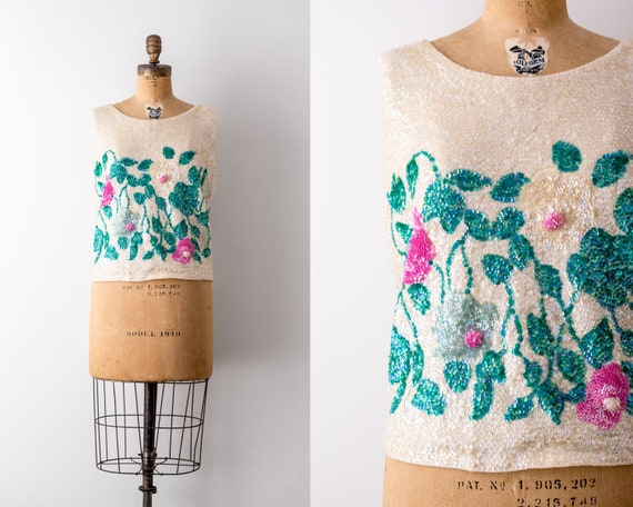 5d4cd6863623f Vintage sequin top. 1960s floral tank top. Cream   colorful