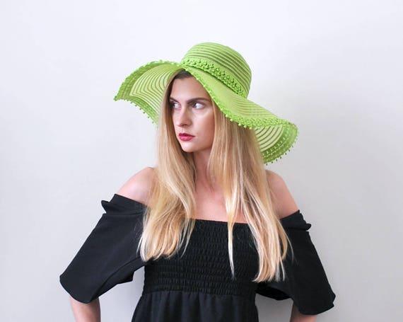 1970's lime green hat. floppy. 70 wide brim hat. b