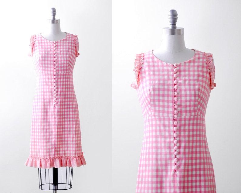 2cc72932eb3 Robe rose et blanc des années 60. Vichy. robe à carreaux de