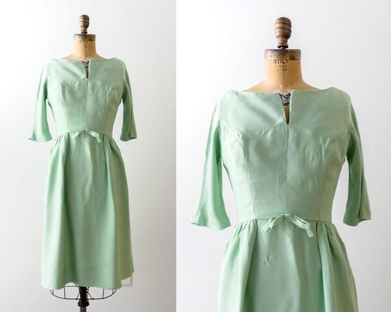 1950's mint green dress. 50 sheath dress. Pastel g