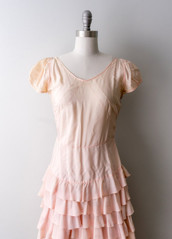 1930 light pink dress. small. 30's bias cut gown.… - image 3
