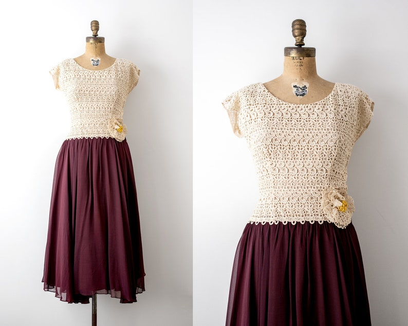 40's burgundy dress. 1940 lace dress. cream & red evening image 0