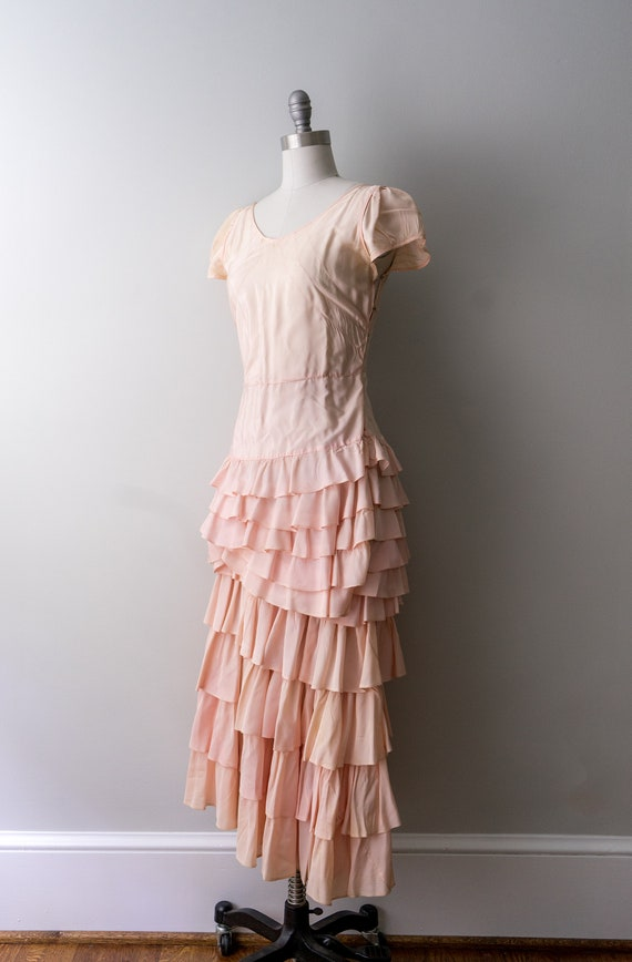 1930 light pink dress. small. 30's bias cut gown.… - image 7