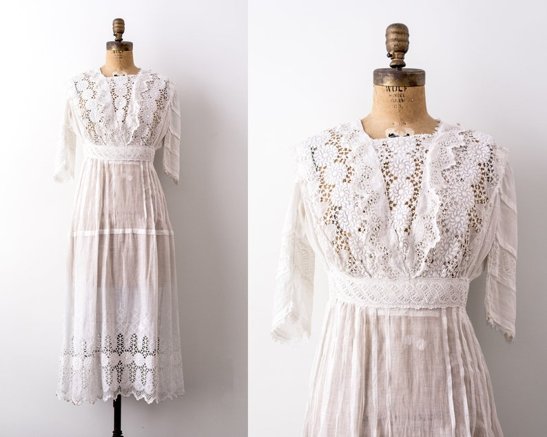 1910s Dress. Edwardian cotton dress. vintage 1910 wedding image 0