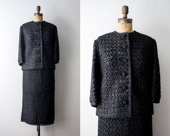 1950's Black Suit Set. Vintage 50 Ribbon crochet b