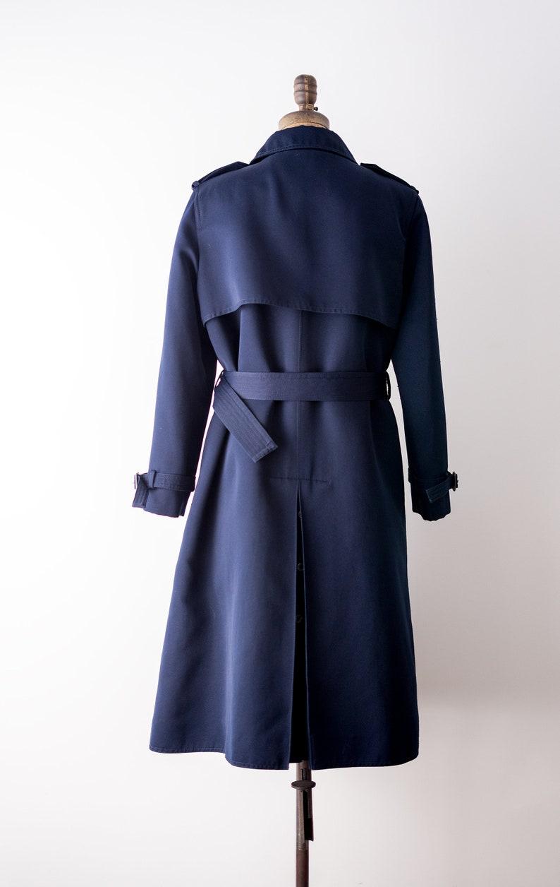 Belt Military style Rain coat polyester 1970 trench coat XL Vintage 70\u2019s navy blue coat