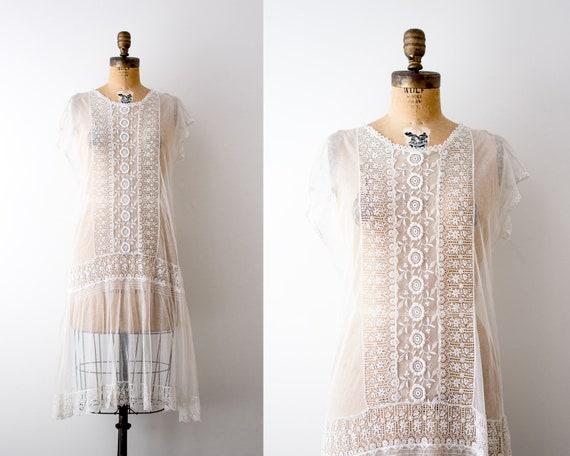 1920's white lace dress. 20's wedding dress. flora